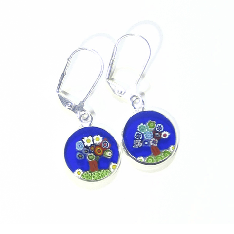 Murano Glass Colorful Tree of Life Blue Disc Sterling Silver Earrings