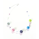 Murano Glass Colorful Chunky Ball Sterling Silver Necklace - JKC Murano