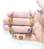 Murano Glass Fall Colors Cube Gold Filled Bracelet - JKC Murano