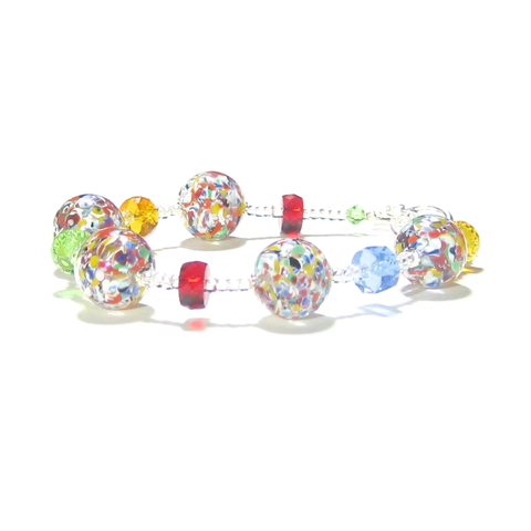 Murano Glass Colorful Ball Toggle Clasp Bracelet - JKC Murano