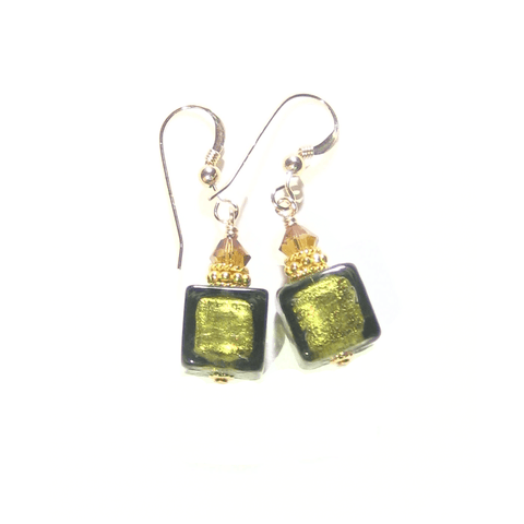 Murano Glass Olive Green Cube Gold Earrings