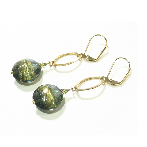 Murano Glass Olive Disc Long Gold Earrings