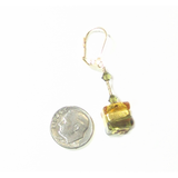 Murano Glass Topaz Olive Green Cube Gold Earrings - JKC Murano
