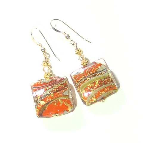 Murano Glass Orange Square Gold Earrings - JKC Murano