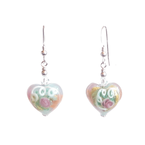 Murano Glass Aquamarine Heart Wedding Cake Silver Earrings - JKC Murano