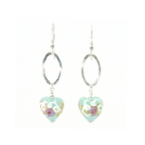 Murano Glass Aquamarine Heart Wedding Cake Long Silver Earrings - JKC Murano