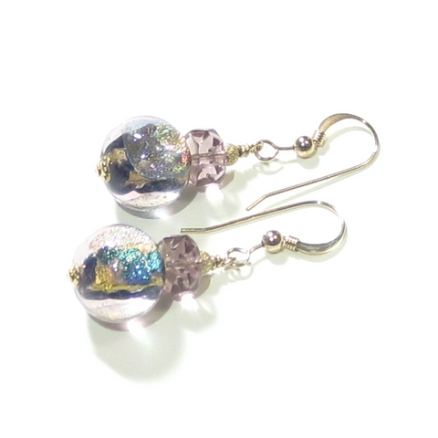 Murano Glass Sparkling Dichroic Gold Earrings, Murano Glass Jewelry - JKC Murano
