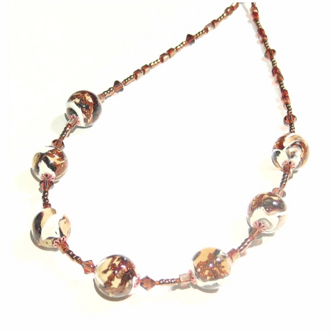 Italian Murano Glass Topaz White Ball Gold Necklace