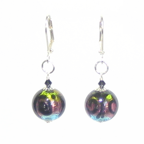 Murano Glass Colorful Black Swirl Ball Silver Earrings - JKC Murano