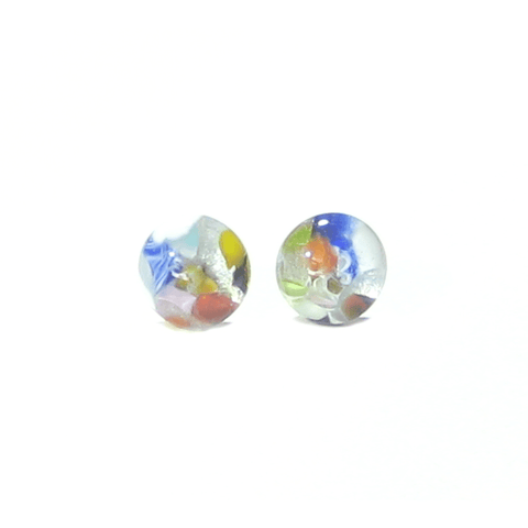 Colorful Millefiori Klimt Style Sterling Post Earrings, Stud Earrings - JKC Murano