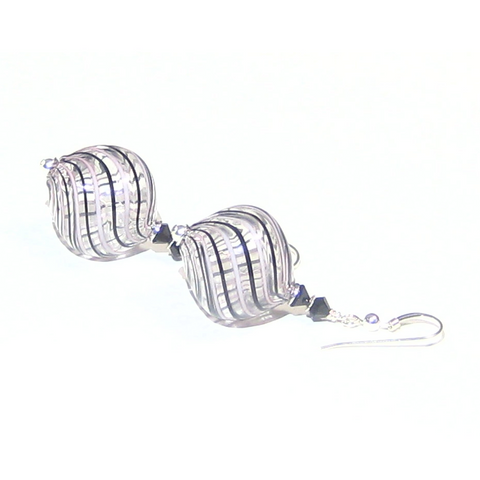 Murano Glass Blown Glass Pink Black Stripes Silver Earrings - JKC Murano