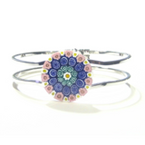 Murano Glass Cobalt Blue Pink Millefiori Chrome Bangle Bracelet - JKC Murano