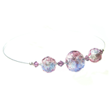 Murano Glass Blue Pink Purple Ball Wire Choker Silver Necklace - JKC Murano
