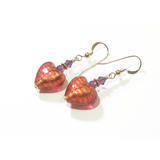 Murano Glass Pink Purple Heart Yellow Gold Earrings, Venetian Jewelry - JKC Murano
