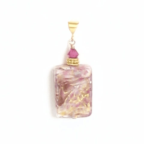 Murano Glass Pink White Yellow Gold Pendant - JKC Murano