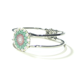 Murano Glass Green Pink White Millefiori Chrome Bangle Bracelet - JKC Murano