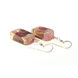Murano Glass Pink Purple Rectangle Gold Earrings - JKC Murano