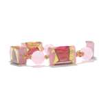 Murano Glass Pink Chunky Rectangle Gold Bracelet - JKC Murano