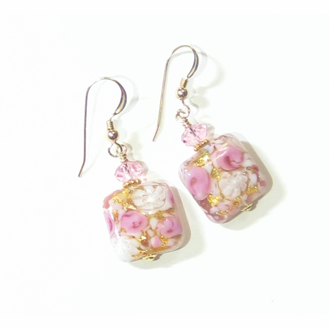 Murano Glass Pink Roses Millefiori Square Gold Earrings - JKC Murano