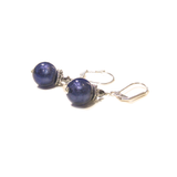 Italian Murano Glass Plum Purple Sterling Silver Earrings - JKC Murano