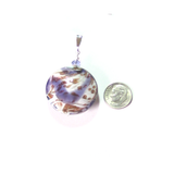Murano Glass Plum White Copper Disc Pendant - JKC Murano