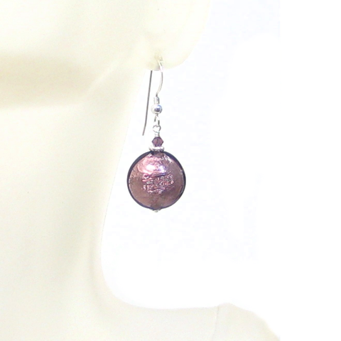 Murano Glass Purple Disc Sterling Silver Earrings