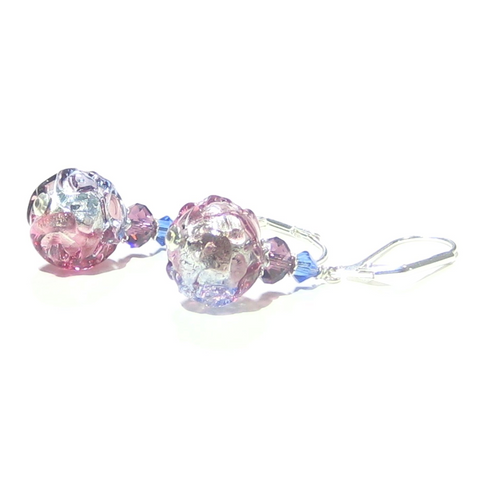 Murano Glass Pink Blue Purple Glacier Ball Sterling Silver Earrings - JKC Murano