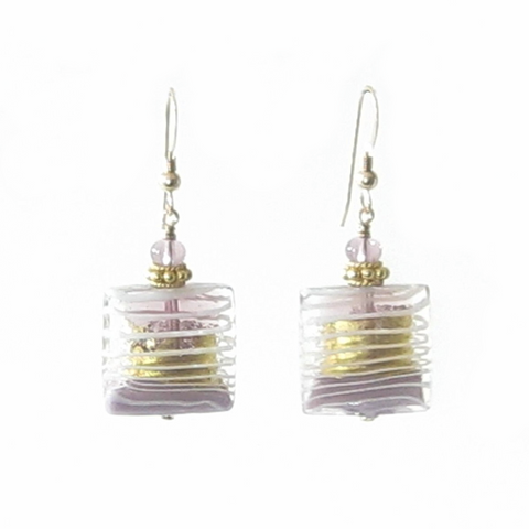 Murano Glass Pale Purple Striped Square Gold Earrings, Venetian Jewelry