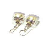 Murano Glass Pale Purple Striped Square Gold Earrings, Venetian Jewelry - JKC Murano