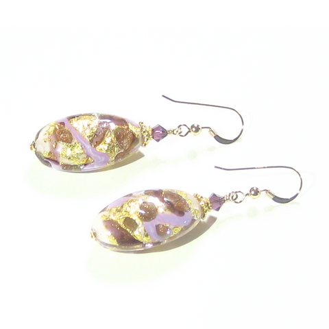 Murano Glass Purple Gold Copper Oval Dangle Gold Earrings - JKC Murano