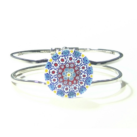Murano Glass Red Blue Orange Daisy Millefiori Bangle Bracelet - JKC Murano
