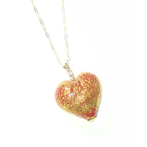 Murano Glass Cherry Red Puffy Heart Pendant - JKC Murano