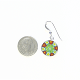 Murano Glass Millefiori Disc Sterling Silver Earrings - JKC Murano