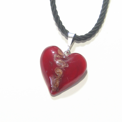 Murano Glass Red Copper Swirl Heart Pendant Necklace