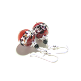 Murano Glass Red Leopard Ball Sterling Silver Earrings - JKC Murano