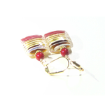 Murano Glass Red Topaz Striped Square Gold Earrings, Venetian Jewelry - JKC Murano