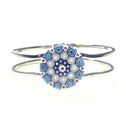 Murano Glass Red White and Blue Millefiori Bangle Bracelet - JKC Murano
