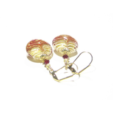 Murano Glass Red White Feather Gold Earrings - JKC Murano