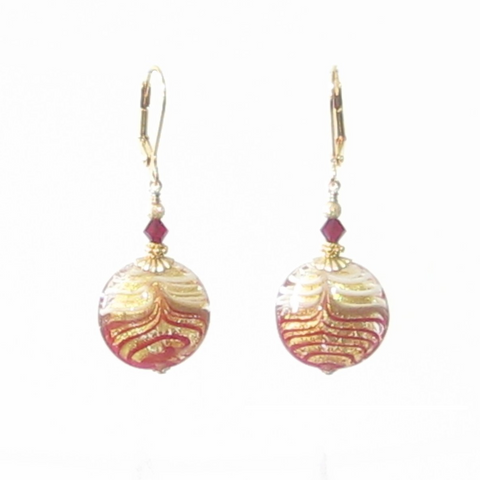 Murano Glass Red White Feather Gold Earrings