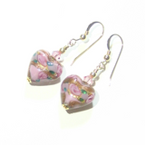 Murano Glass Pink Lilac Rose Heart Gold Earrings - JKC Murano