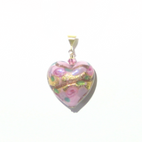 Murano Glass Pink Lilac Rose Heart Gold Pendant By JKC Murano - JKC Murano