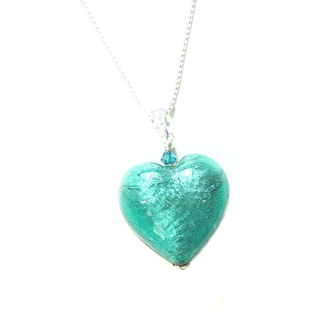 Murano Glass Sea Green Heart Pendant By JKC Murano - JKC Murano