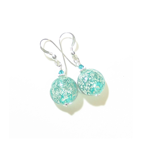 Murano Glass Sea Green Disc Silver Earrings