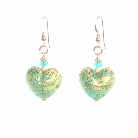 Murano Glass Sea Green Chunky Heart Gold Earrings