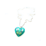 Murano Glass Sea Green Millefiori Heart Pendant - JKC Murano