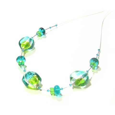 Murano Glass Sea Green Lime Nugget Sterling Silver Necklace, Italian Glass Jewelry - JKC Murano