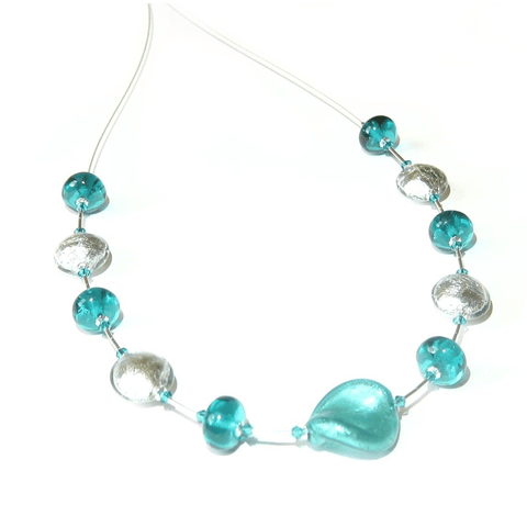 Murano Glass Sea Green Twist Sterling Silver Necklace by JKC Murano