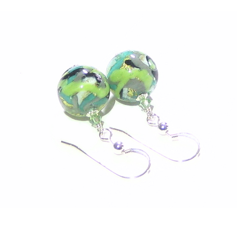 Murano Glass Green Black Gray Abstract Ball Silver Earrings - JKC Murano