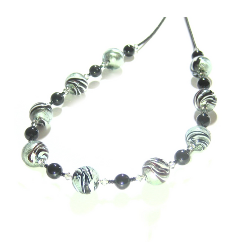 Murano Glass Black Steel Zebra Swirl Silver Necklace - JKC Murano