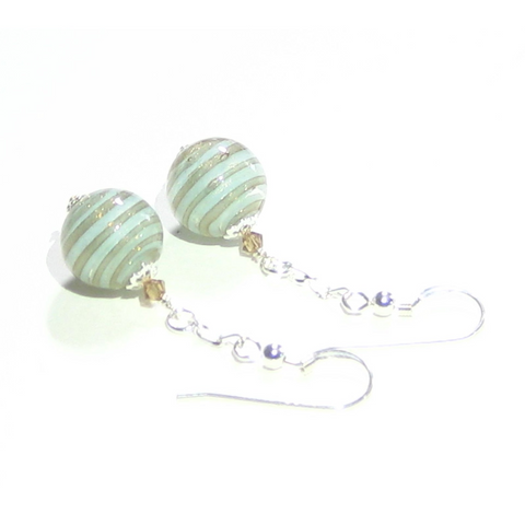 Murano Glass Aquamarine Copper Ball Dangle Silver Earrings - JKC Murano